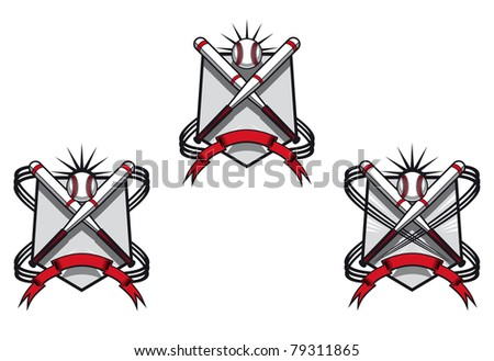 Baseball emblems set for sports design or mascot. Vector version also available in gallery - stock photo