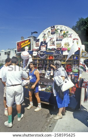 Baseball Fans Buying Souvenirs, Fenway Park, Boston, Massachusetts - stock photo
