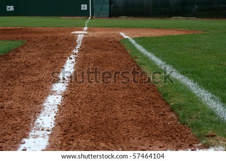 Baseball Field First Base Line - stock photo