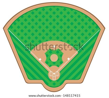baseball field illustration isolated on white background - stock photo