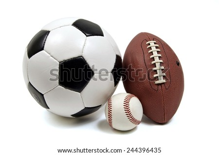 Baseball, Football And Soccer Ball On White Background - stock photo