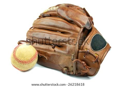 Baseball glove and ball isolated - stock photo