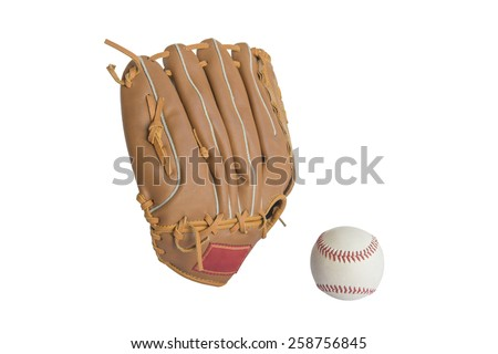 baseball glove and ball isolated on white background - stock photo