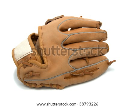 Baseball glove and  ball on a white background - stock photo