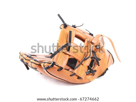Baseball glove and ball with velcro for easier catch - stock photo