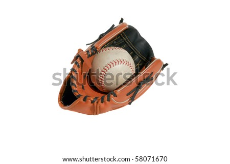 baseball glove and baseball isolated on white - stock photo