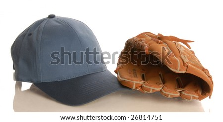 baseball glove and hat isolated on white background - stock photo