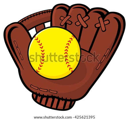 Baseball Glove And Yellow Softball. Raster Illustration Isolated On White Background