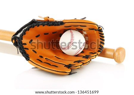 Baseball glove, bat and ball isolated on white - stock photo