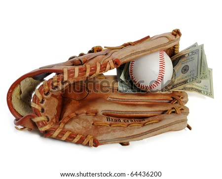 Baseball glove with ball and money inside - stock photo