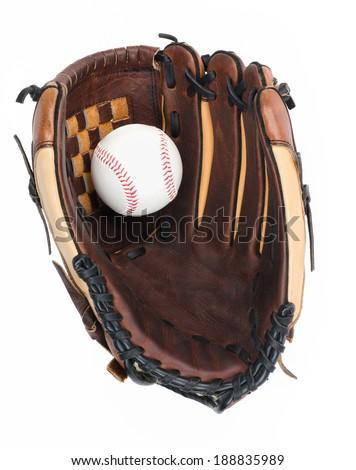 Baseball Glove with Baseball - stock photo
