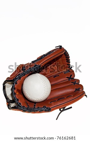 baseball glove with the ball on the white background - stock photo