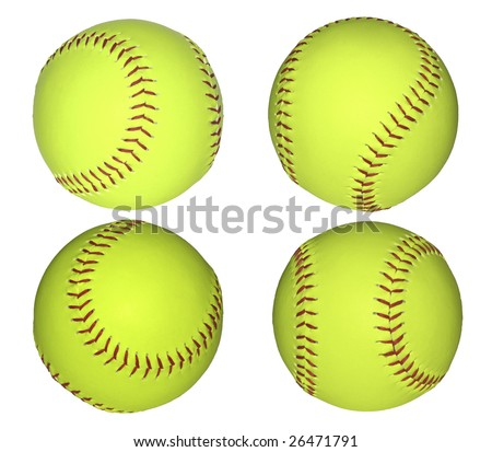 Baseball green yellow leather balls isolated on white. - stock photo