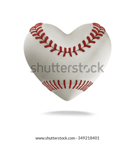 Baseball heart / 3D render of heart shaped baseball