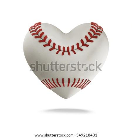 Baseball heart / 3D render of heart shaped baseball - stock photo