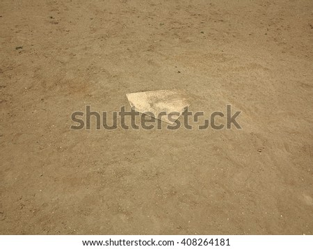 Baseball - Home Plate on a baseball field with copy space. - stock photo