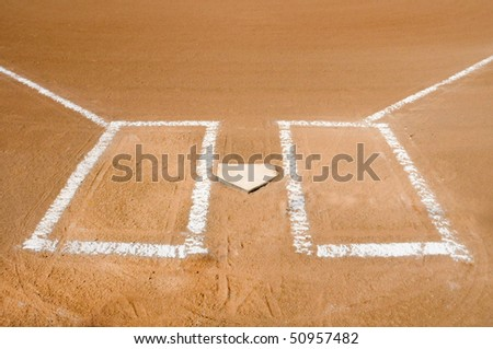 Baseball home plate with batter boxes freshly chalked. - stock photo