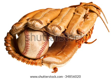 baseball in mitt isolated on white background - stock photo