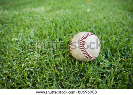 Baseball in Outfield Grass - stock photo