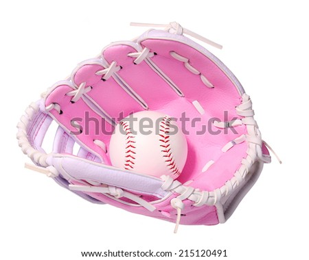Baseball in Pink Female Glove isolated on white.  - stock photo