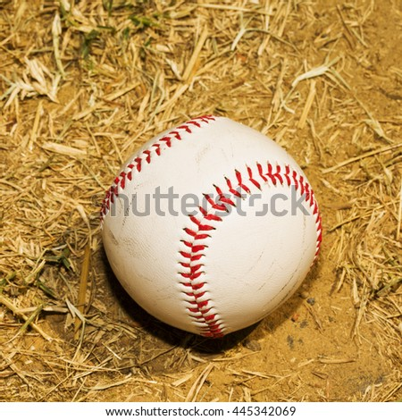 Baseball in the dirt, dry field, square image