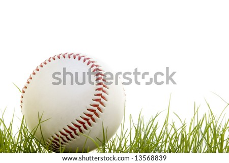 baseball in the grass isolated on a white background