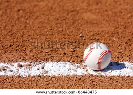 Baseball in the Infield with room for copy