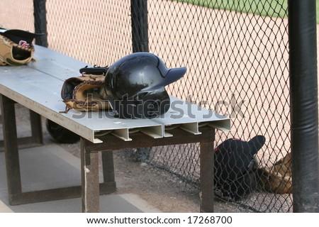 Baseball Items including a batting helmet  baseball and Glove - stock photo