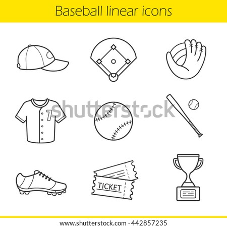 Baseball linear icons set. Isolated baseball game equipment thin line illustrations. Baseball player uniform cap, shirt and shoes. Baseball bat and ball contour symbols. Raster isolated drawings - stock photo
