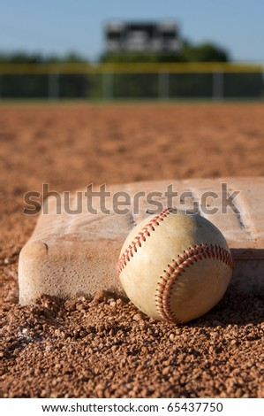 Baseball near the base with room for copy
