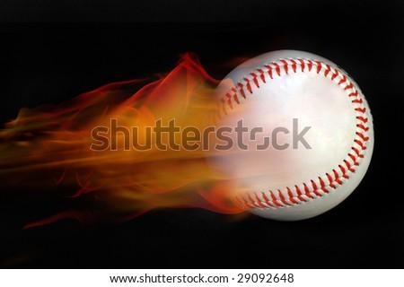 Baseball on Fire - stock photo