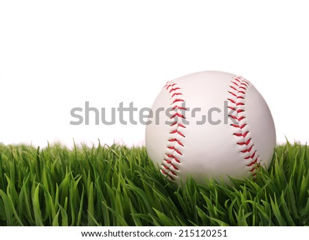 Baseball on Green Grass, isolated on white. Ball with clipping path