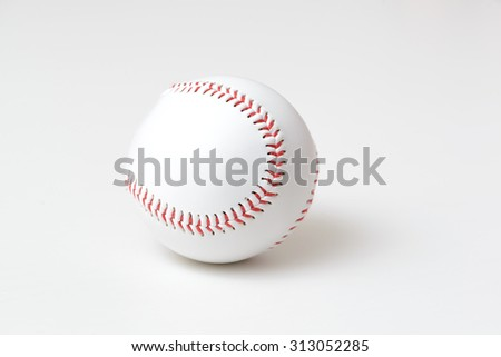 Baseball on white background with copy space and natural shadow - stock photo