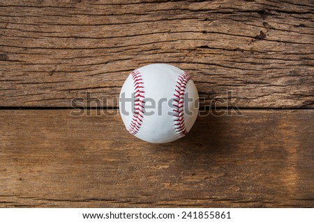 Baseball on Wood Background, Sport Vintage Rustic Style.
