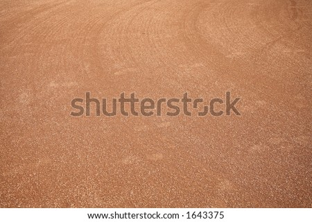 Baseball or softball field that's been graded and smoothed out so it's ready for a game
