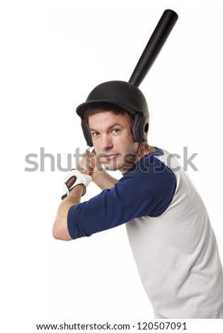 Baseball or softball Player Isolated on White - stock photo