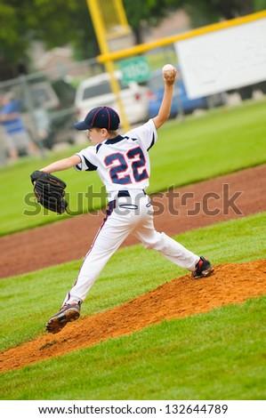 Baseball pitcher on the mound. - stock photo