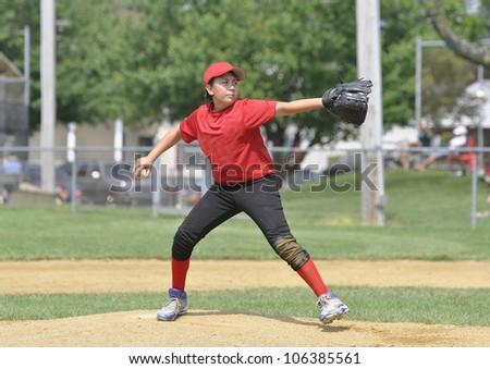 Baseball pitcher on the pitcher's mound - stock photo