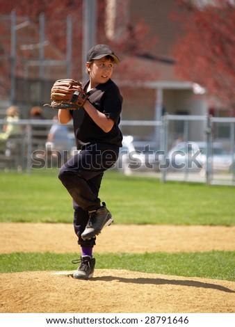 Baseball pitcher on the pitching mound - stock photo