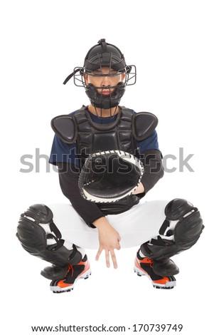 baseball player , catcher showing secret  signal gesture - stock photo