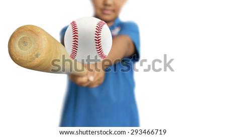 Baseball player hitting baseball bat isolated on white background. This has clipping path. - stock photo