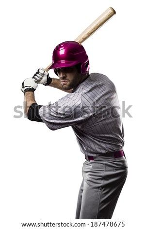 Baseball Player in a Pink uniform, on a white background.