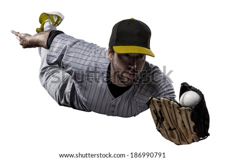 Baseball Player in a Yellow uniform, on a white background.
