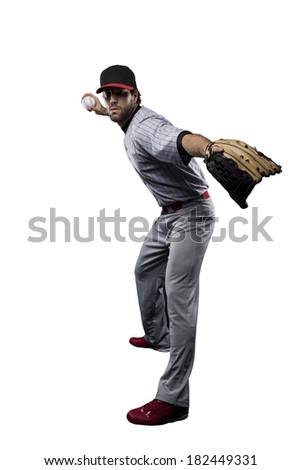 Baseball Player in red uniform, on a white background.