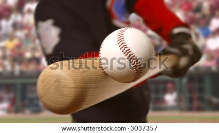 baseball player makes contact with the ball and bat - stock photo