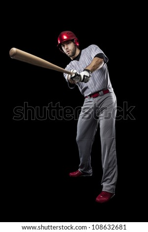 Baseball Player on a black background.