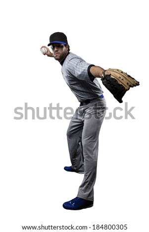 Baseball Player, pitcher, in a blue uniform, on a white background.