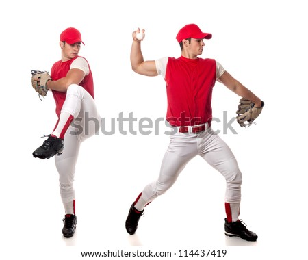 Baseball player pitching. Studio shot over white. - stock photo