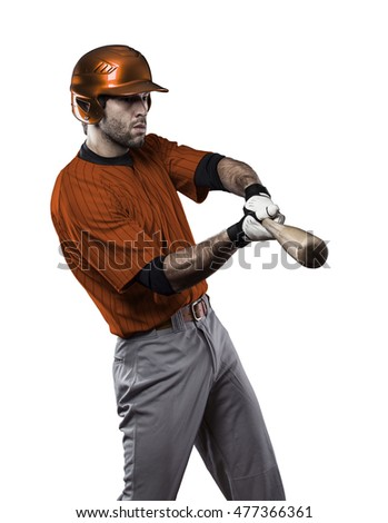 Baseball Player with a orange uniform on a white background.