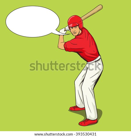 Baseball player with bat pop art style raster illustration. Human illustration. Comic book style imitation. Vintage retro style. Conceptual illustration
